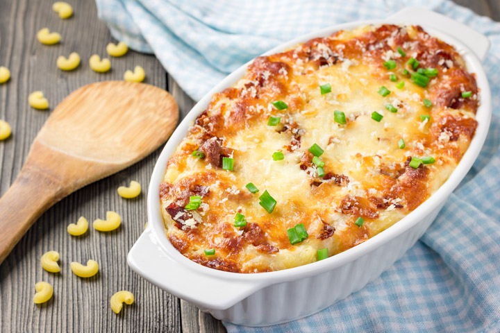 mac and cheese in baking dish