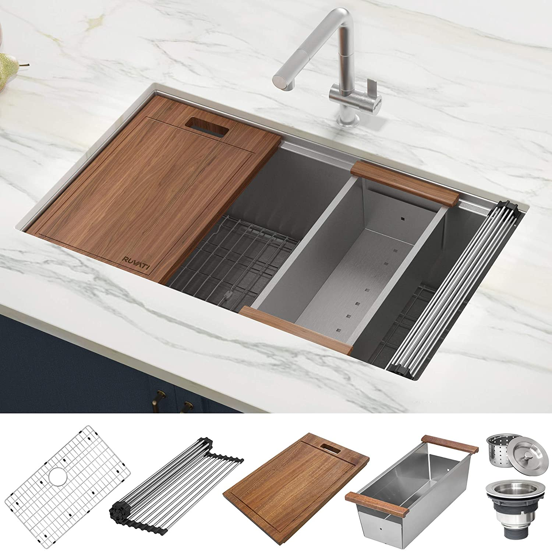 3.Ruvati 16-Gauge Stainless Steel Kitchen Sink