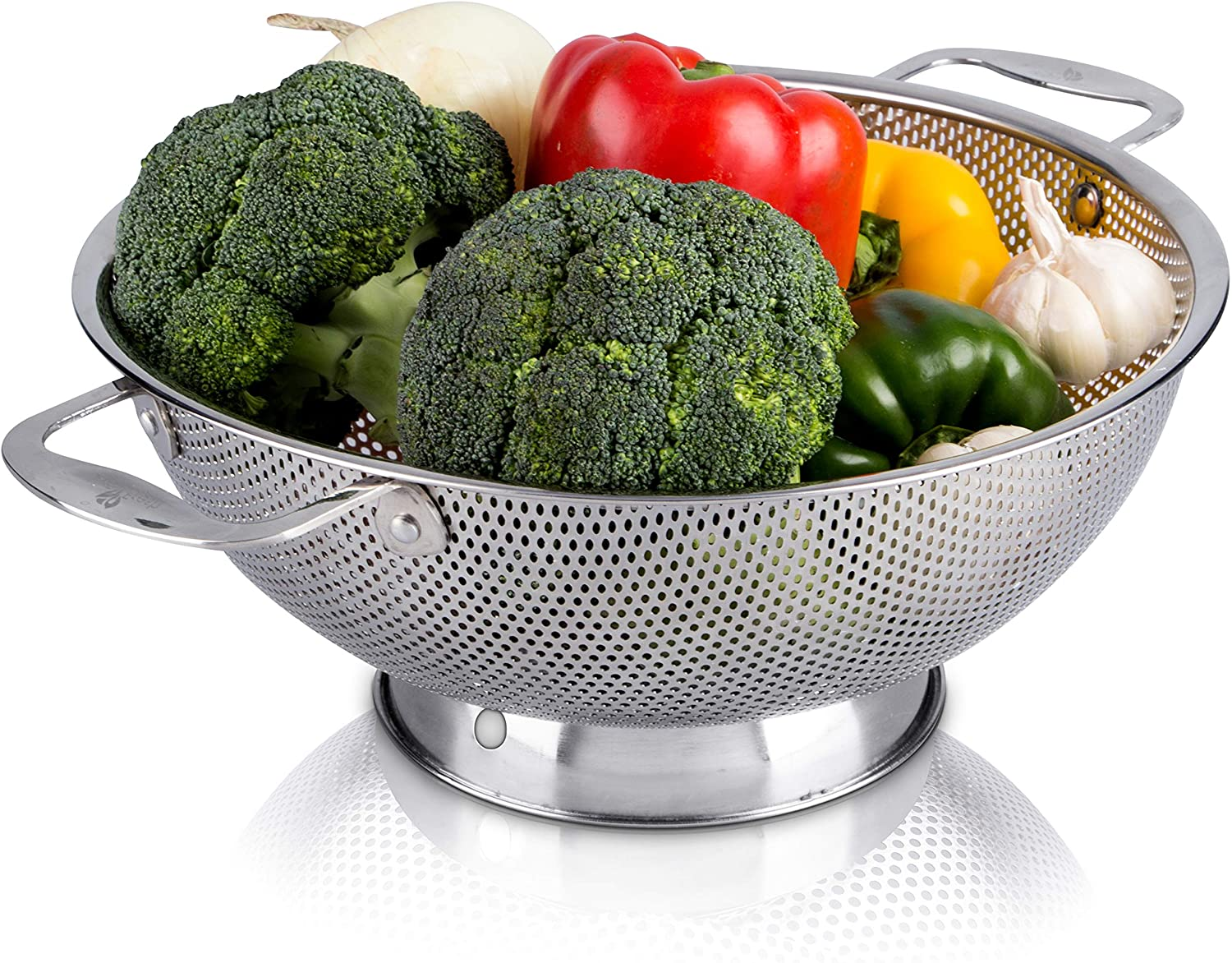 LiveFresh Stainless Steel Micro-Perforated Pasta Strainer