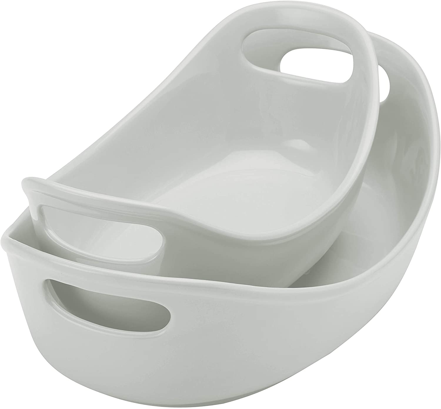 Rachael Ray Ceramic Bubble and Brown Oval Baker Set